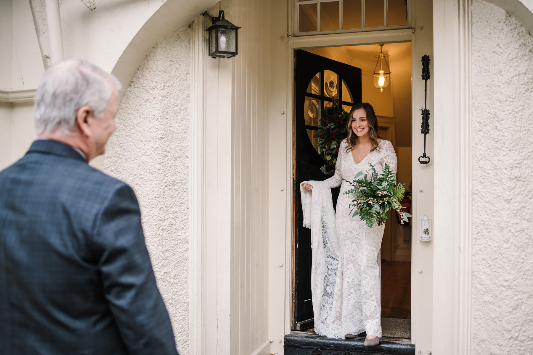 Bride and Father first look at New Forest Micro Wedding