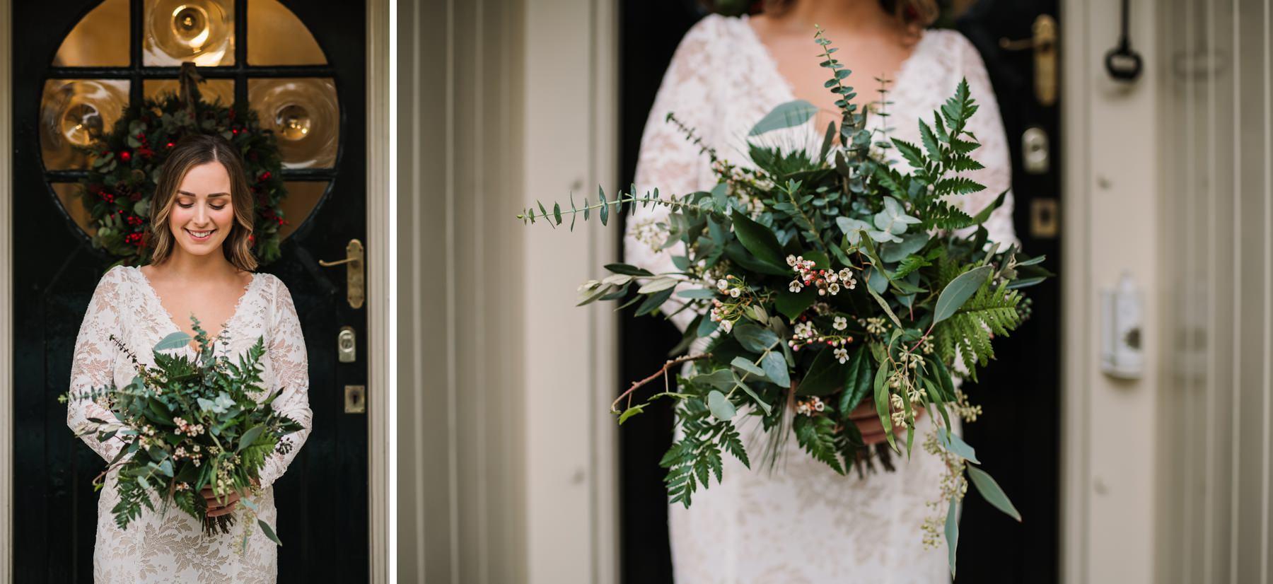 Bride with foliage bouquet by Corbins Florist in Brockenhurst