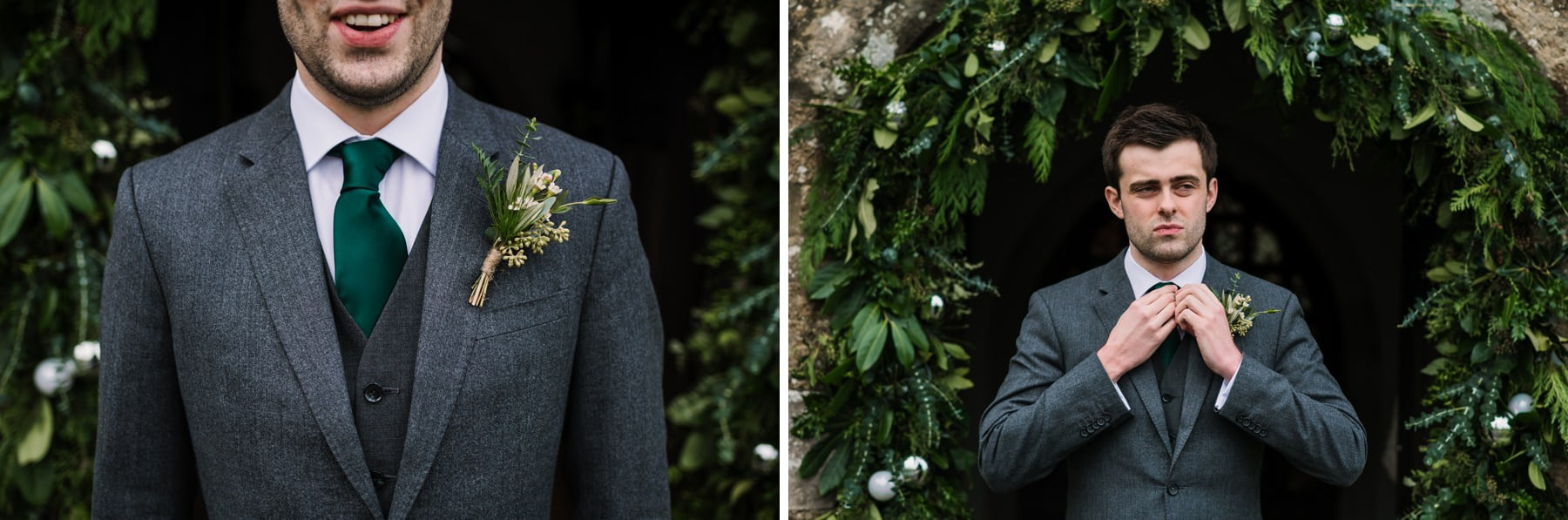 Groom at Winter Wedding in New Forest
