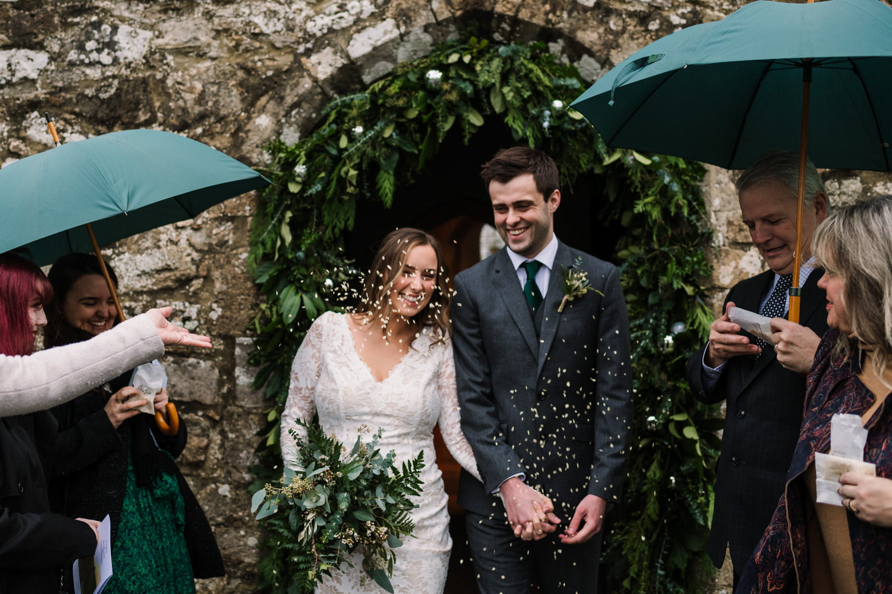 Confetti photos by New Forest wedding photographer